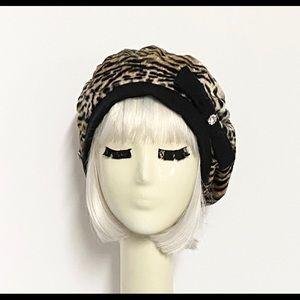 Beret Hat Leopard Faux Fur